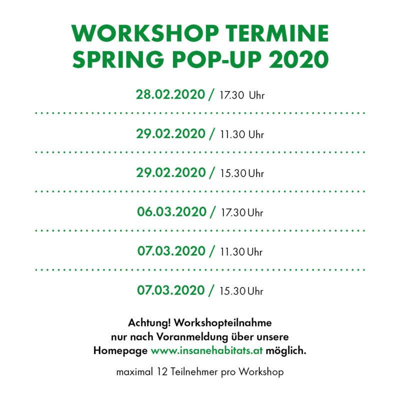 Workshop Termine Spring Pop-Up 2020